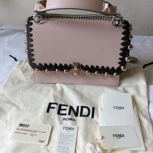 Fendi Calfskin Crochet Pearl Liberty Kan I bag